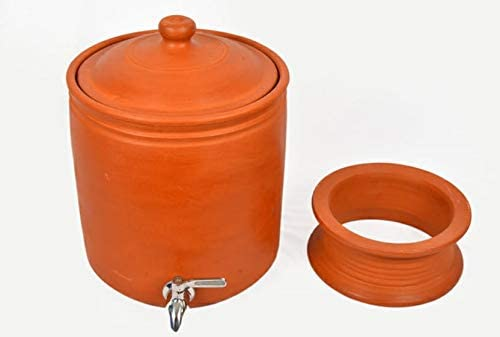 Village Decor Handmade Earthen Clay Water Pot with Stainless Steel Spigot and Lid//Beverage Dispenser 1.8 Gallon