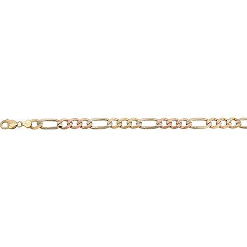 Tri Color Figaro Bracelet (14k Gold Tri-Color 10.00mm 9