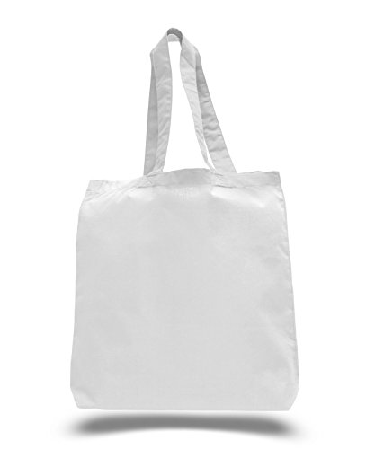(3 Pack) Set of 3 Cotton Tote Bags Wholesale with Bottom Gusset (White)]()