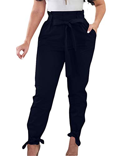 GOBLES Women Solid Casual Work Trousers High Waist Ruffle Bow Tie Pants Navy Blue