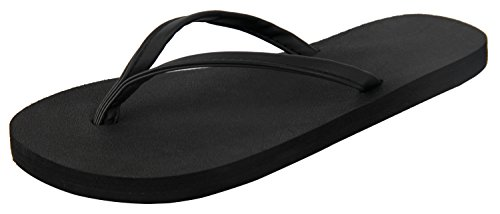 (4HOW Women Flip Flop Sandal Size 5.5-6 M Black)