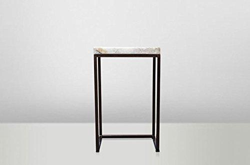 Casa Padrino Art Deco Beistelltisch Onyx / Metall 40 x 27 cm- Jugendstil Tisch - Möbel Blumentisch