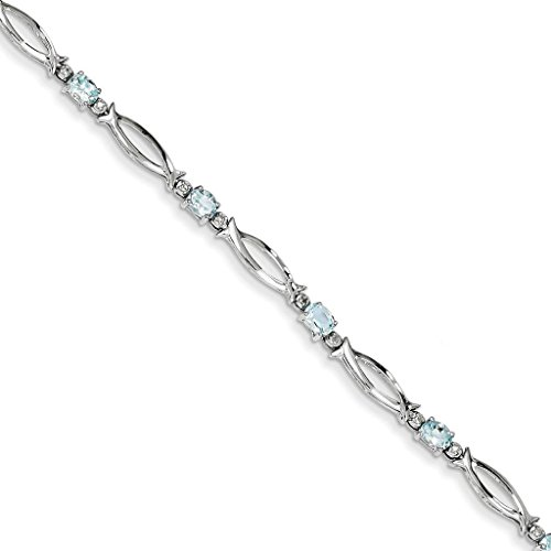 925 Sterling Silver Rhodium-plated Polished Oval Aquamarine & Diamond Open Link Tennis Bracelet 7""