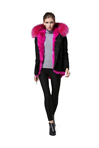 Schwarze winterjacke mit rosa fell