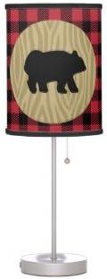 Rustic Bear Lumberjack Buffalo Plaid Desk Lamp with Black Trim