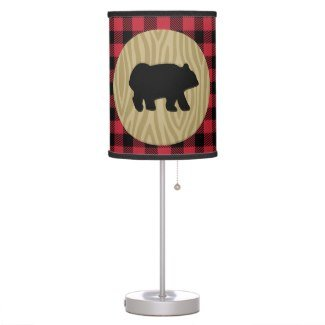 Rustic Bear Lumberjack Buffalo Plaid Desk Lamp with Black Trim ()