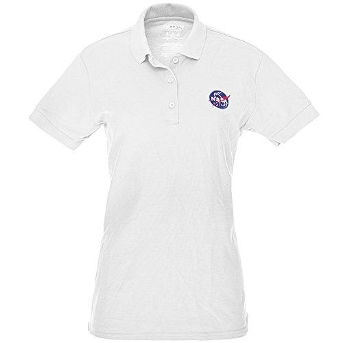 - Ladies NASA Insignia Embroidered 100% Cotton Polo Shirt - White - S