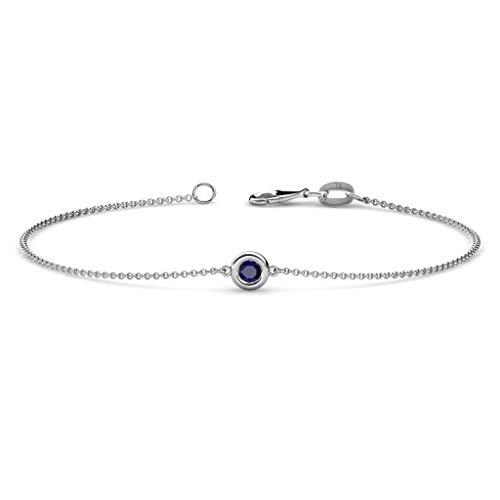TriJewels Round Blue Sapphire 3mm Womens Solitaire Station Minimalist Bracelet 0.11 ct 14K White - Inch 7 3mm Round Bezel