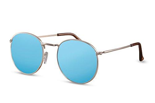 Ca Or Cheapass 007 Miroitant Léo Lunettes Rétro Sunglasses Rondes Noir Marron qwZ84gq