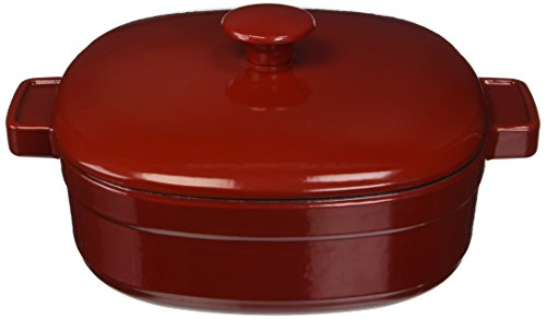 KitchenAid KCLI40CRER Streamline Cast Iron 4-Quart Casserole Cookware - Empire Red (Cast Iron Cobbler)