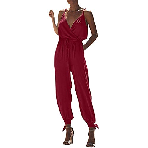 6ce57d94c5f3 Women s Floral Print Jumpsuit Spaghetti Strap V-Neck Drawstring Long Pants  Sleeveless Jumpsuit Rompers Red