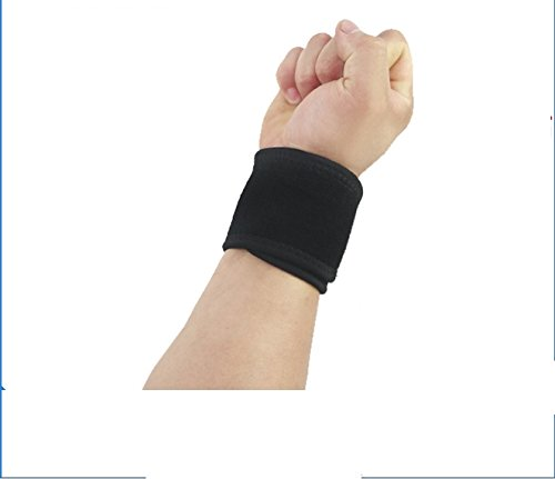 New breathable neoprene wrist brace wrist [medium with thumb loop] [upgrade] adjustable wrist professional sports - badminton basketball fitness winding wrist arthritis sprain pressing a protective sleeve size (unisex) (Pair of Two Wraps)--Black by Gogoing