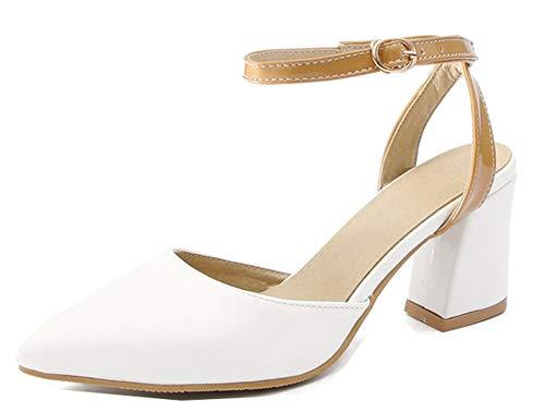 Stable Boucle Marrone Femme Chaussures Epouse Escarpins Aisun Mariage Pour Blanc Pointue WnqT75f45