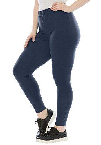 Roamans Women's Plus Size Tall Essential Stretch Knit Ankle Length Leggings (Womens Suit Pant Roamans)