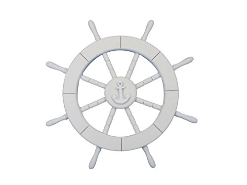 Handcrafted Model Ships White Ship Wheel with Anchor 18