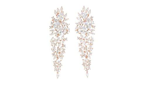 - Wedding Clear Cubic Zircon Crystal Rhodium Waterfall Pierced Dangle Bridesmaid Bridal Earrings (rose gold plated)