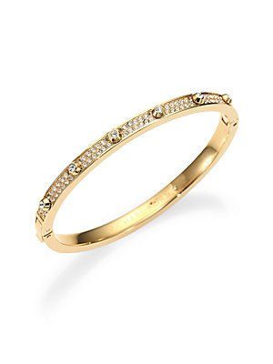 - Michael Kors Gold-Tone Crystal Hinge Bangle Bracelet