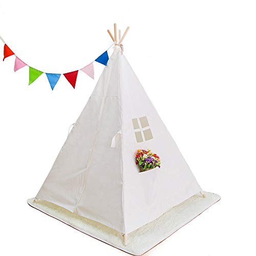 RONGFA Kids Foldable Teepee Play Tent, One Four Ploes Style, White