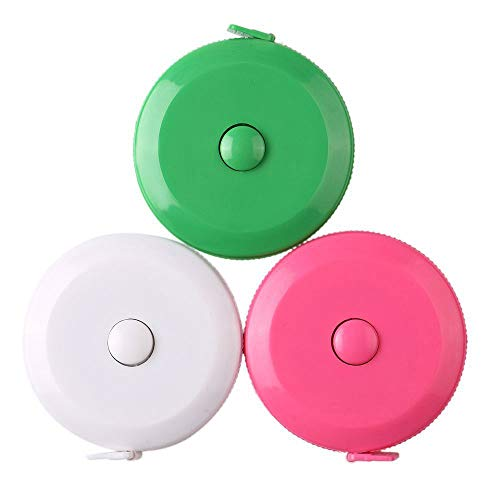 - 3 Pack Tape Measure 150 cm 60 Inch Push Button Tape Body Measuring Soft Retractable for Sewing Double-Sided Tailor Cloth Ruler (Pink Green White) By BUSHIBU