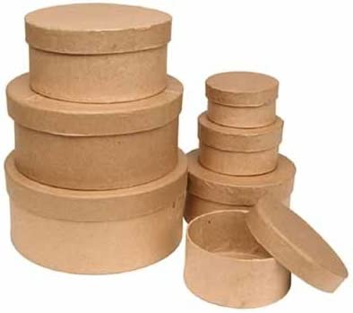 Factory Direct Craft Handcrafted Paper Mache Oval Boxes 9 Total Boxes 3 of Each Size