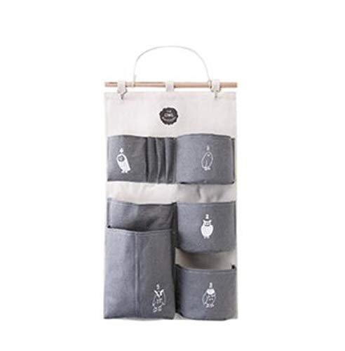 fantasticlife06 New Multifunction Multi-Layer Cartoon Wall Hanging Storage Bag Makeup Cosmetic Organizer Foldable Storage Basket Home Decor,L Gray]()