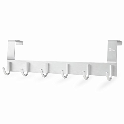 Over The Door Towel Rack Hook Holders Organizer, Anjuer Metal Coat Hanger 6 Hooks Over Door Hanger