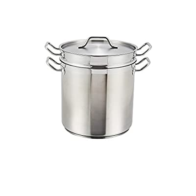 """Winco SSDB-16, 16-Quart 11"""" x 9-5/8"""" x 10-7/16"""" Master Cook Commercial Grade Stainless Steel Double Boiler With Cover, NSF"""