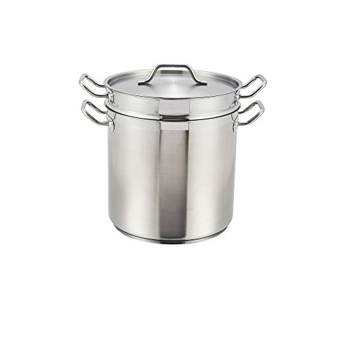 (Winco SSDB-12, 12-Quart 9.3-Inch x 10.2-Inch Master Cook Commercial Grade Stainless Steel Double Boiler With Cover, NSF)