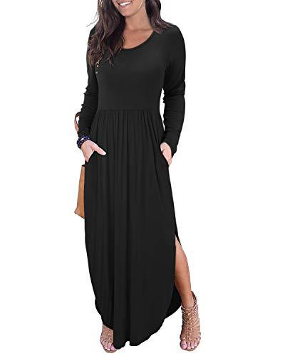 II ININ Women's Long Sleeve Autumn Dress Loose Plain Side Split Casual Maxi Dresses with Pockets (Black,XXL)