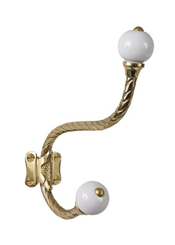 Brass Porcelain Screws - Brass Elegans BE-407PLB Rope Design Double Robe or Coat Hook with Porcelain Accents, Polished Brass Finish