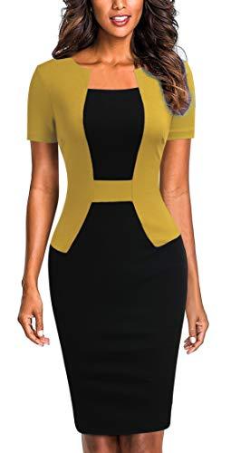 Mmondschein Women's Short Sleeve Colorblock Sheath Pencil Business Church Dress (Yellow, ()