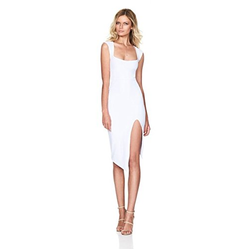 Crinkle Sleeveless Halter Dress (Pretid Women Strap Sleeveless Side Slit Stretch Bodycon Sexy Club Party)