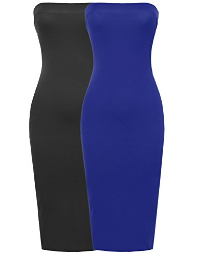 Sexy Comfortable Tube Top Body-Con Midi Dress in Black & Royal 3XL