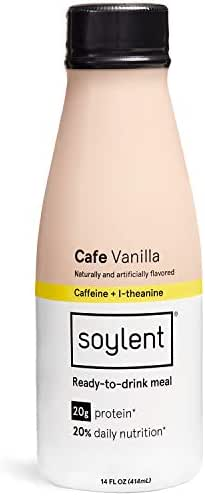 Cafe Vanilla Soylent Meal Replacement Shake, Cafe Vanilla, Complete Meal in a Bottle, 20g Plant Protein, 14 oz Bottles, 12 Pack