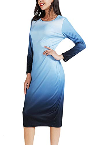 and Dye Blue Black Top Tank Ombre Women`s Tie Light WIWIQS Dress Maxi Dress Long Casual qU7RAHx