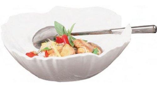 Aps Paderno World Cuisine White Melamine Palm-Shaped Round Bowl, 11-7/8-Inch