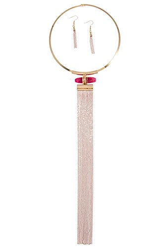 Karmas Canvas Ring Metal Link Stone and Drop Oblong Glitzy Chain Tassel Neckla (Pink) (Ring Tacori Prices)