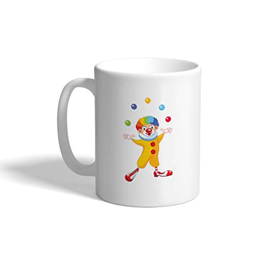 Custom Funny Coffee Mug Coffee Cup Clown Juggling White Ceramic Tea Cup 11 Ounces Design Only]()