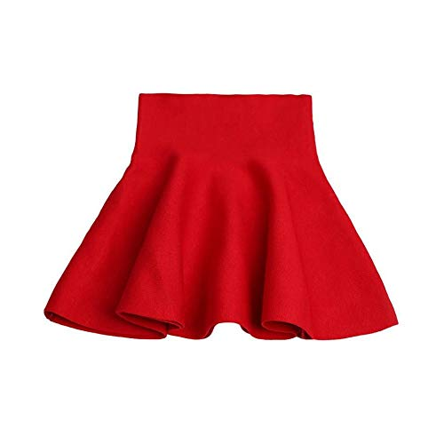 Little Big Girls' High Waist Knitted Flared Pleated Skirt Casual Red Tag 120cm-47(3-4Y)