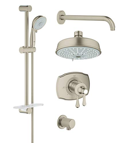 - Grohflex Authentic 4-Spray 2-Function Thermostatic Shower System - 2.5 Gpm