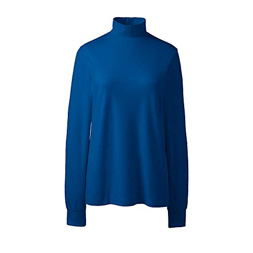 Mock Ladies Interlock Turtleneck (Lands' End Women's Plus Size Relaxed Cotton Mock Turtleneck, 1X, Bright Sea Blue)