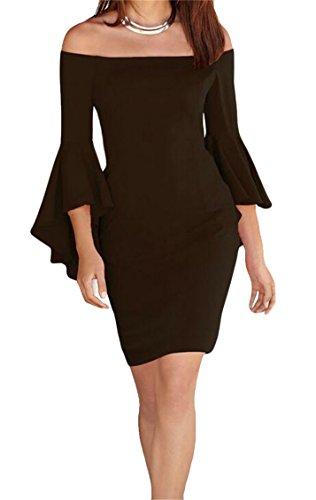 3 Dress Shoulder Bodycon Ruffles 4 Off Women Sleeve Sexy Black Domple Mini I4xRaqBv