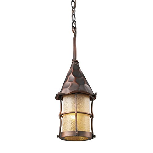 Alumbrada Collection Rustica 1 Light Outdoor Pendant In Antique Copper And Amber Scavo Glass