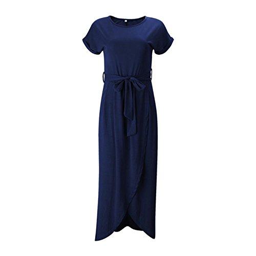 JIANGTAOLANG Women High Split Wrap Dress Summer Roun Neck Short Sleeve Sashes Beach Long Dress Blue XL ()