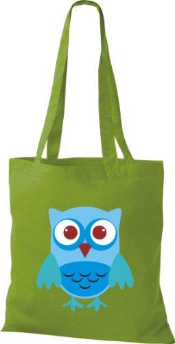 Stoffbeutel Bunte Eule niedliche Tragetasche Owl Retro diverse Farbe lime