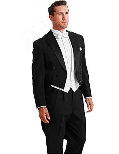 - JYDress Men's Classic Peak Lapel Wedding Tailcoat Suit Pants Vest Black Tuxedo