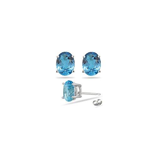 3.85-4.97 Ct of 9x7 mm AAA Swiss Blue Topaz Stud Earrings in 14K White (Aaa Swiss)