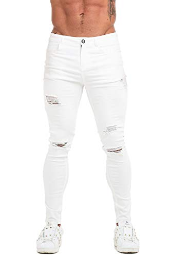 GINGTTO White Ripped Skinny Jeans for Men Stretch Slim Fit Denim Jeans 36