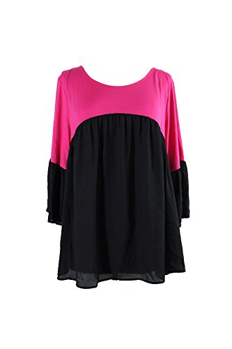 NY Collection Women's Plus Size Solid 3/4 Bell Sleeve Peasant Color Block Blouse, Pink Silken, - Ny Outlets