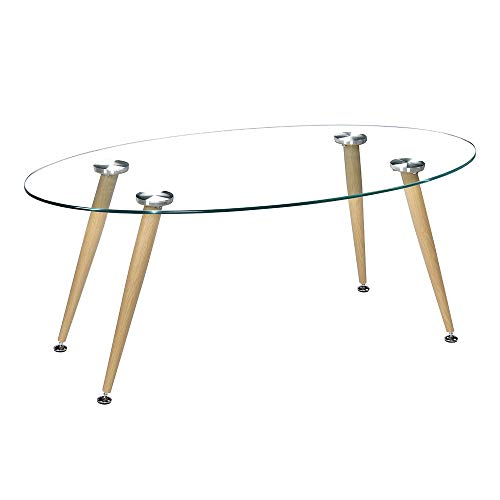 JOYBASE Oval Glass Coffee Table for Living Room, 36 Inch Modern Table with Glass Top and Wood Grain Conical Leg
